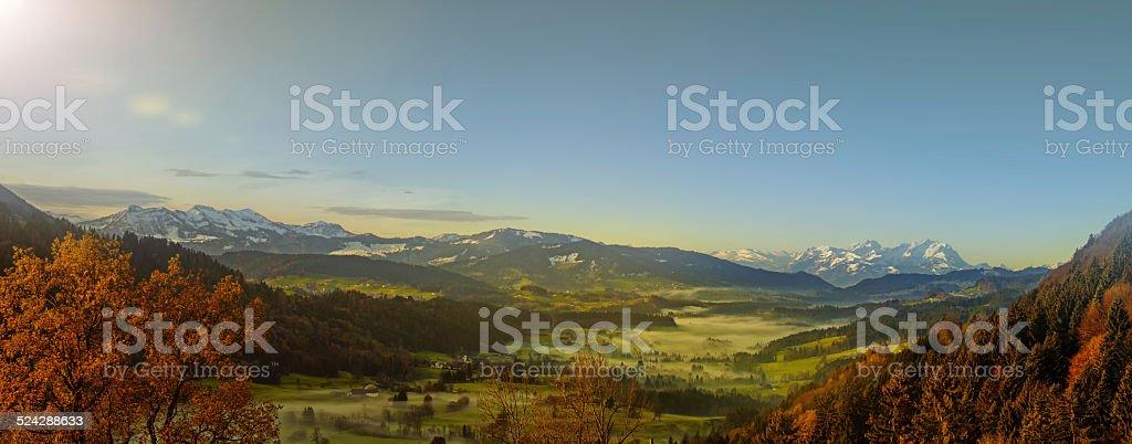 wonderful autumn view over european alps stock photo