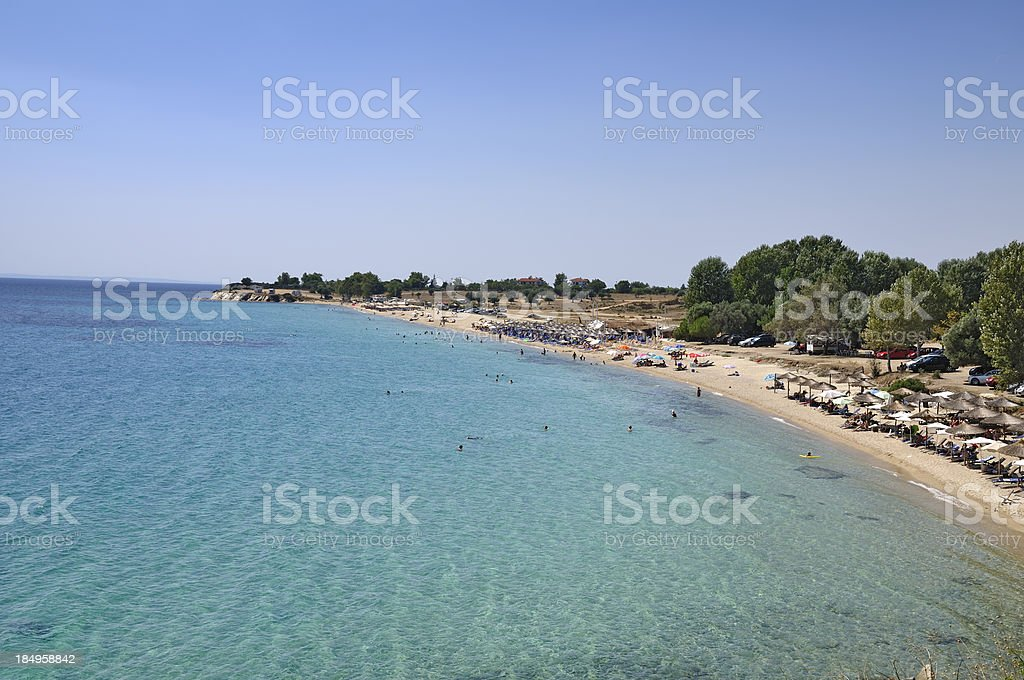 Wonderful beach at Aegean sea on Sithonia, Halkidiki, Greece stock photo