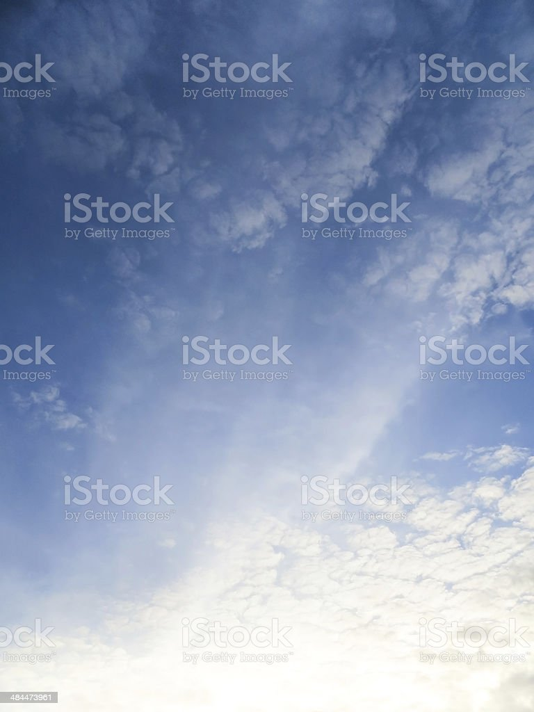 Wonderful blue sky, with some white clouds stock photo