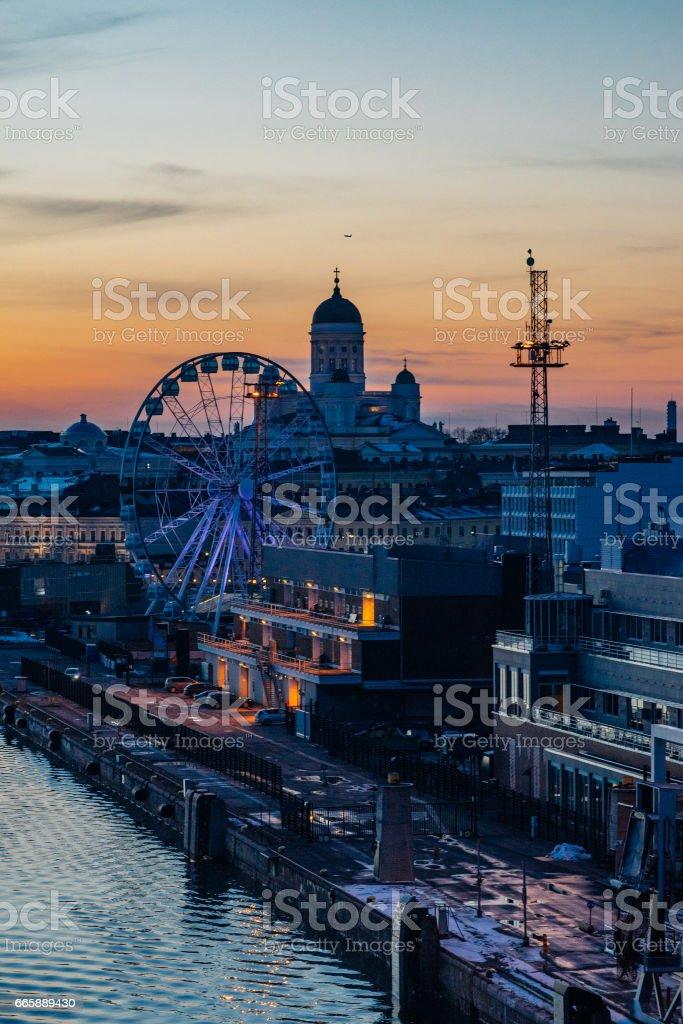 Wonderful evening cityscape of Helsinki stock photo