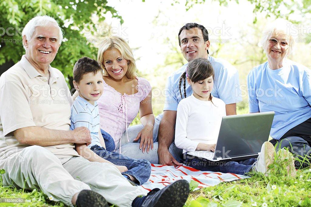 Wonderful family picnic at the park. royalty-free stock photo