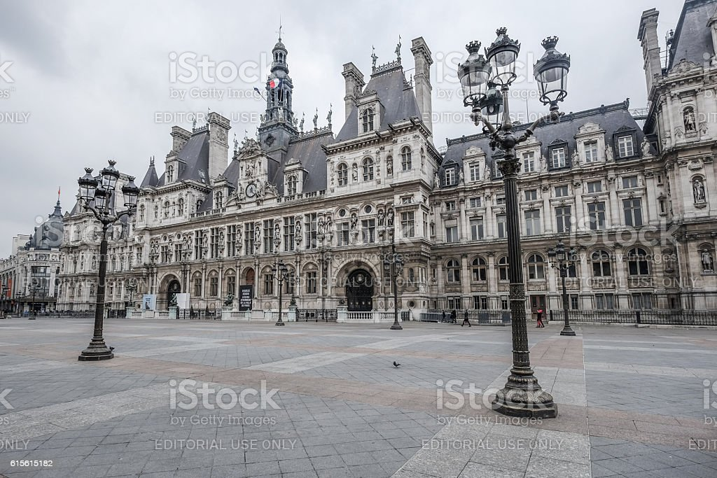 Wonderful front view of Hotel de Ville at Paris stock photo