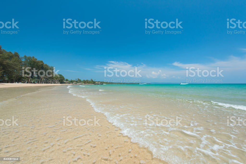 Wonderful gentle wave at the exotic beach in summer stock photo