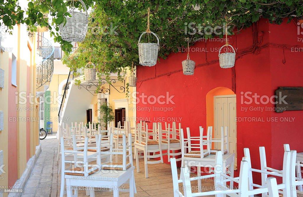 Wonderful Greece. Greek Tavern in Symi. Dodecanese. stock photo