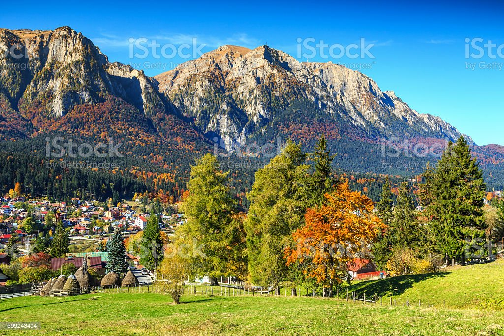 Wonderful green fields with colorful forest,Busteni,Transylvania,Romania,Europe stock photo