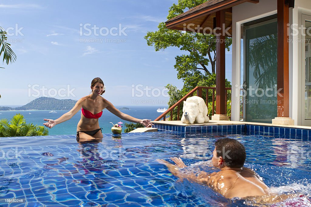 Wonderful holiday in a luxury villa royalty-free stock photo