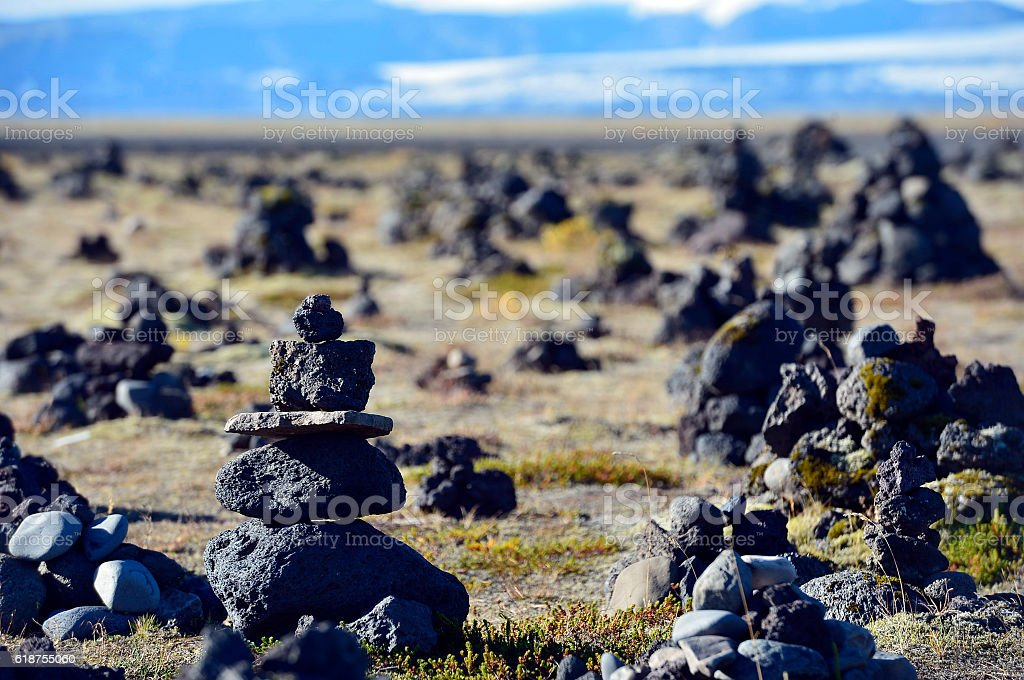 Wonderful icelandic nature. Rocky land, high mountains, (Iceland) stock photo