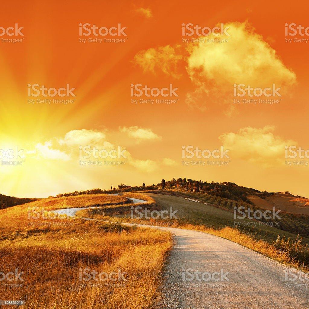 wonderful italy tuscany hill at sunrise or sunset road scenic royalty-free stock photo