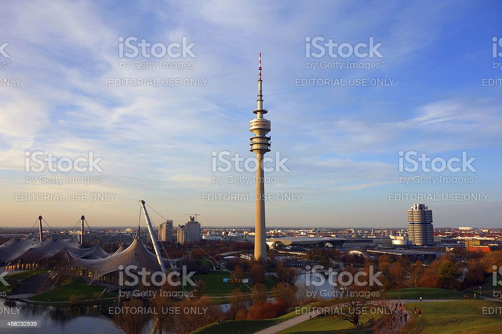 Wonderful Olympic Stadium in Munich at dusk royalty-free stock photo