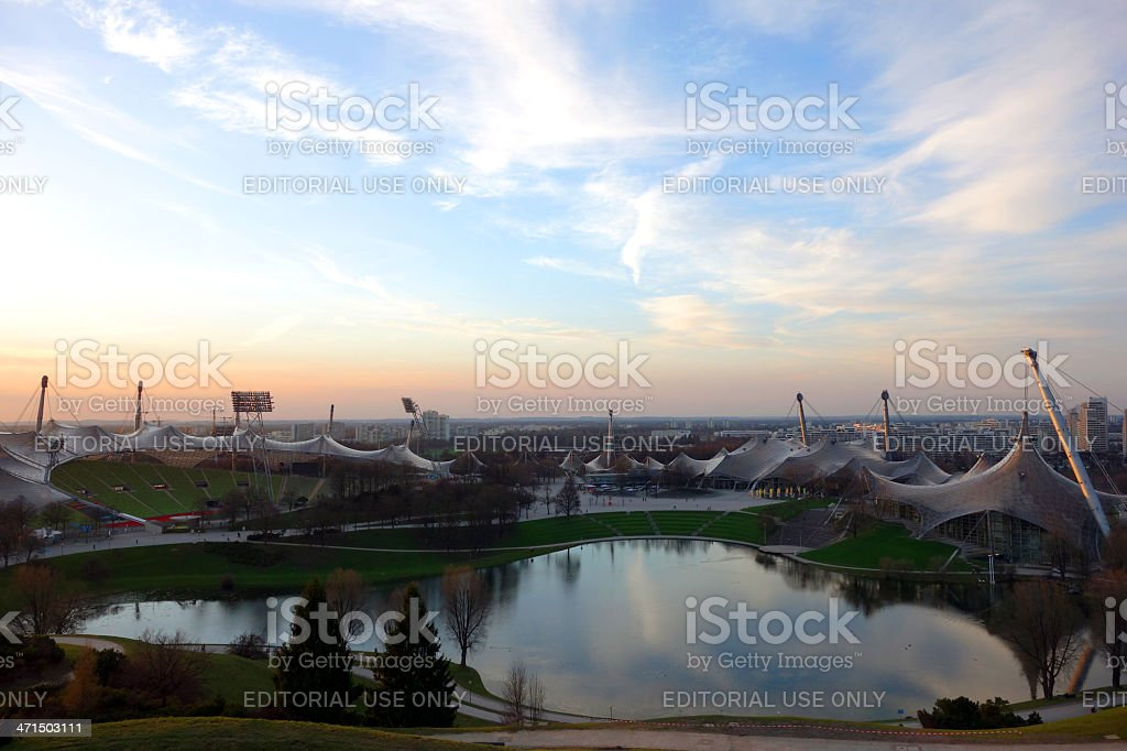 Wonderful Olympic Stadium in Munich at sunset royalty-free stock photo