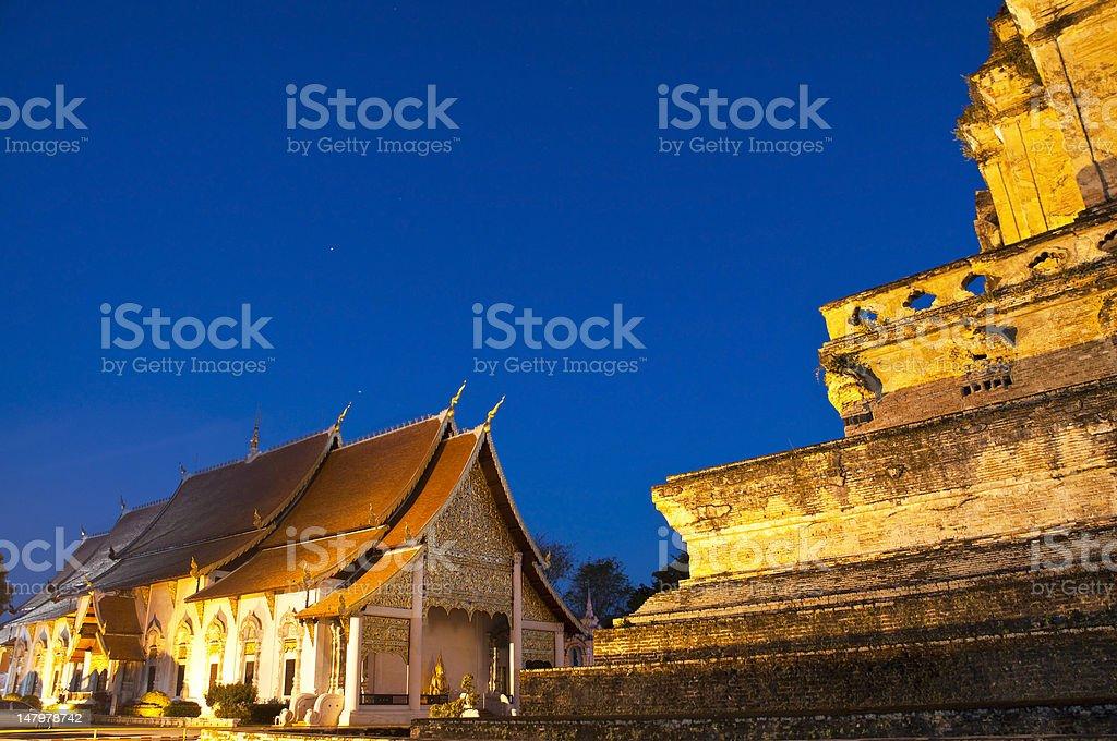 Wspaniałe Pagoda Wat Chedi Luang świątyni, w Chiang Mai zbiór zdjęć royalty-free