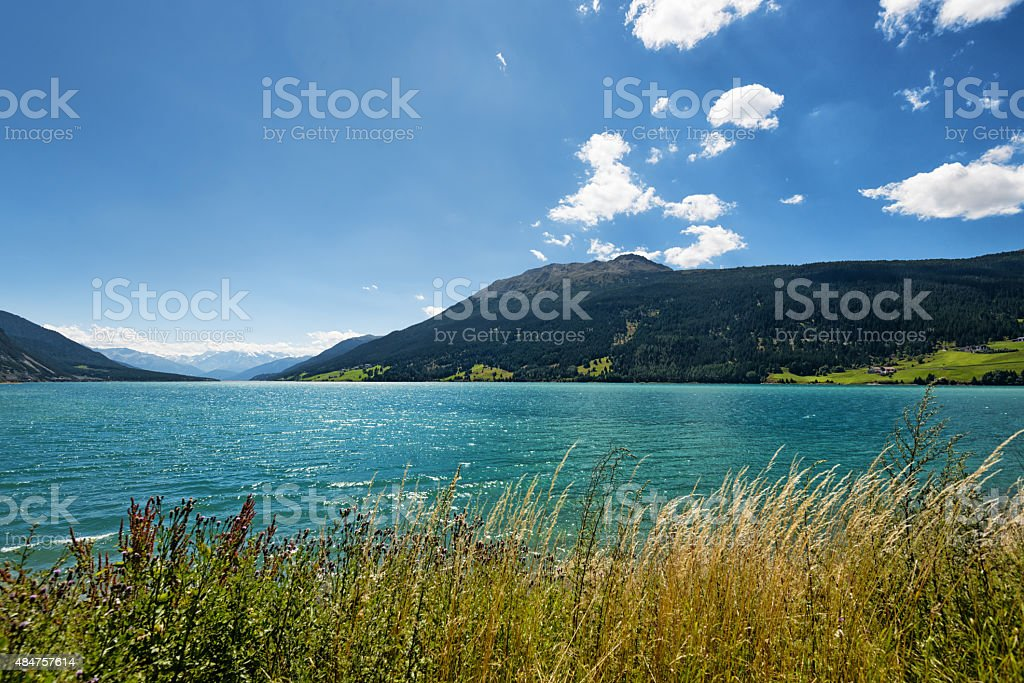 Wonderful Reschensee in Italy, Alto Adige stock photo