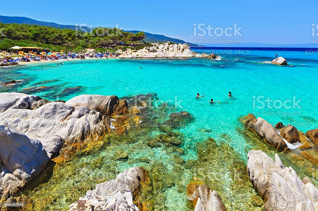 wonderful sea lagoon with clear turquoise water looks like paradise stock photo