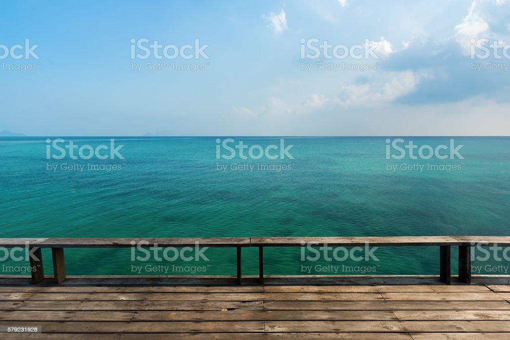Wonderful seaside and wooden bridge, Located Koh Kood Island , Thailand stock photo