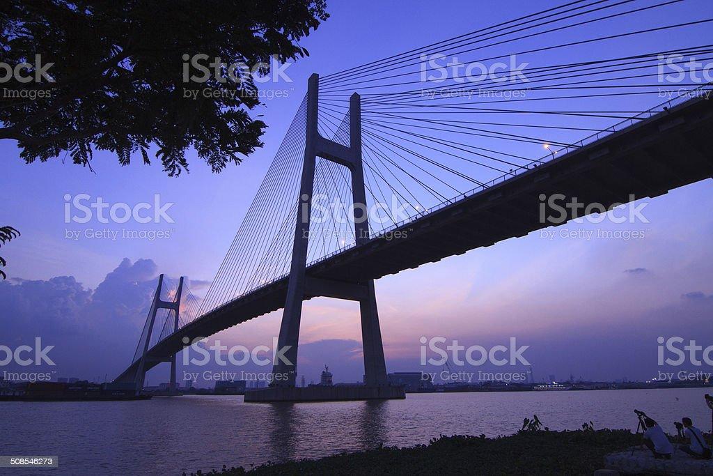 Wonderful shot of Phu My Bridge. royalty-free stock photo