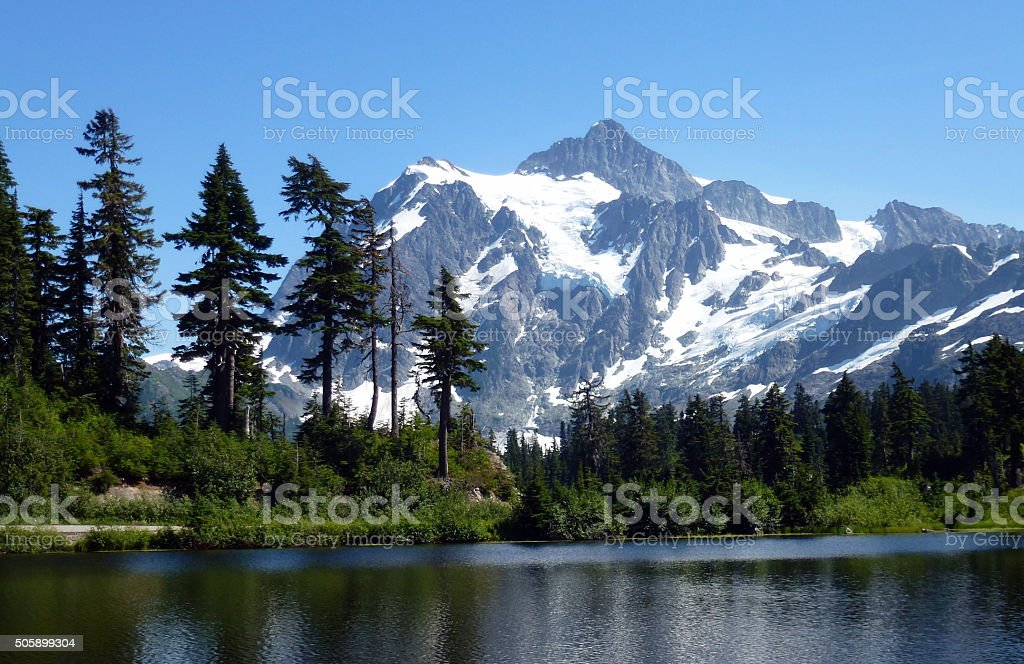 Wonderful snow caped Mt Baker stock photo