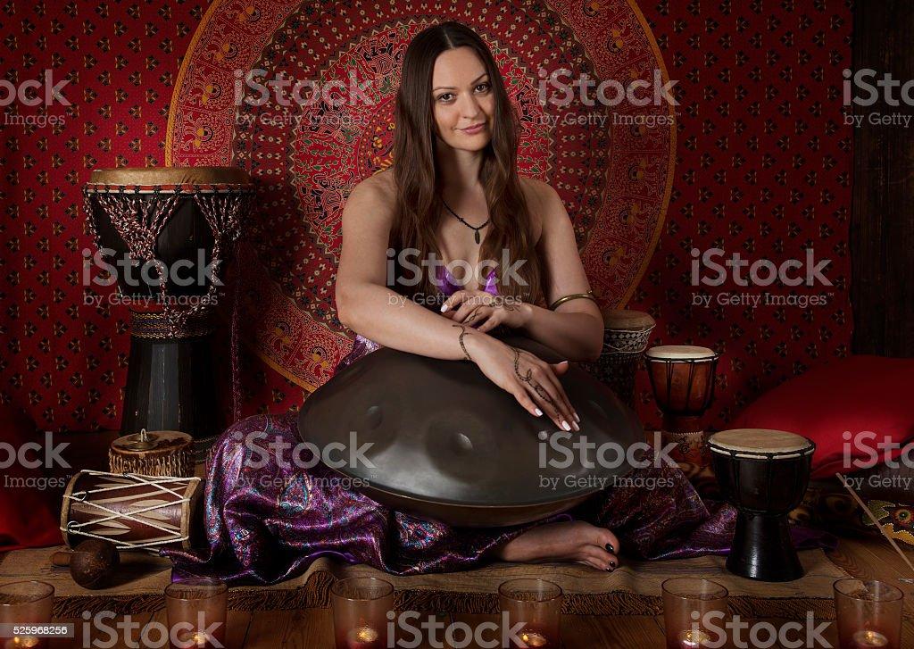 Wonderful sound of hand pan stock photo
