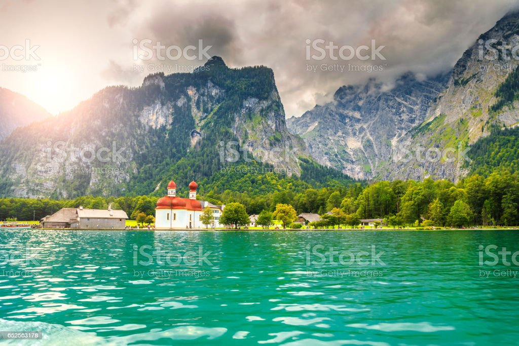 Wonderful St Bartholoma church with alpine lake Konigsee, Bavaria, Germany stock photo