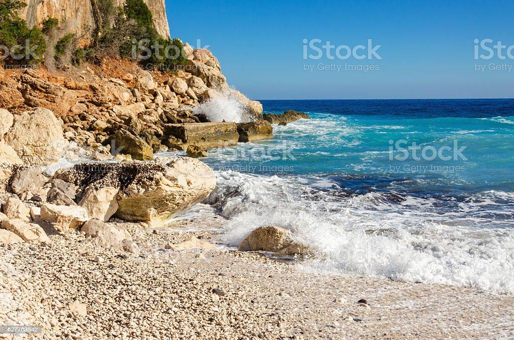 Wonderful stony beach, Sardinia, Italy stock photo