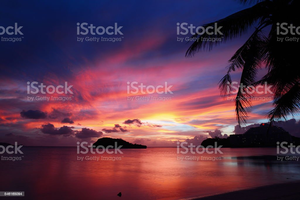 Wonderful summer sunset in Guam stock photo