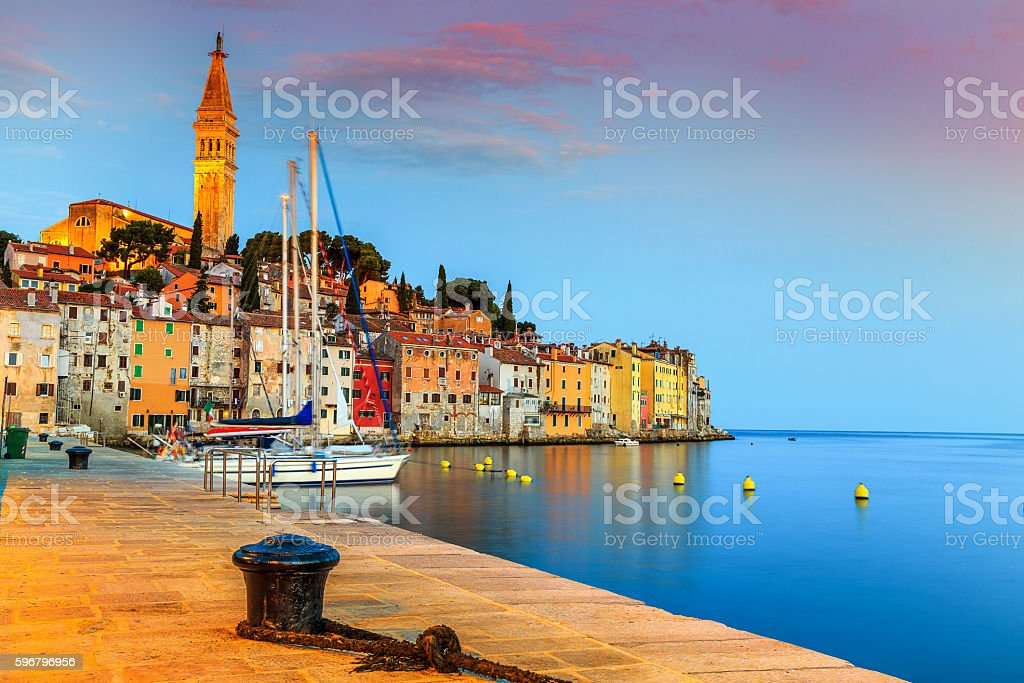Wonderful sunrise with Rovinj old town,Istria region,Croatia,Europe stock photo