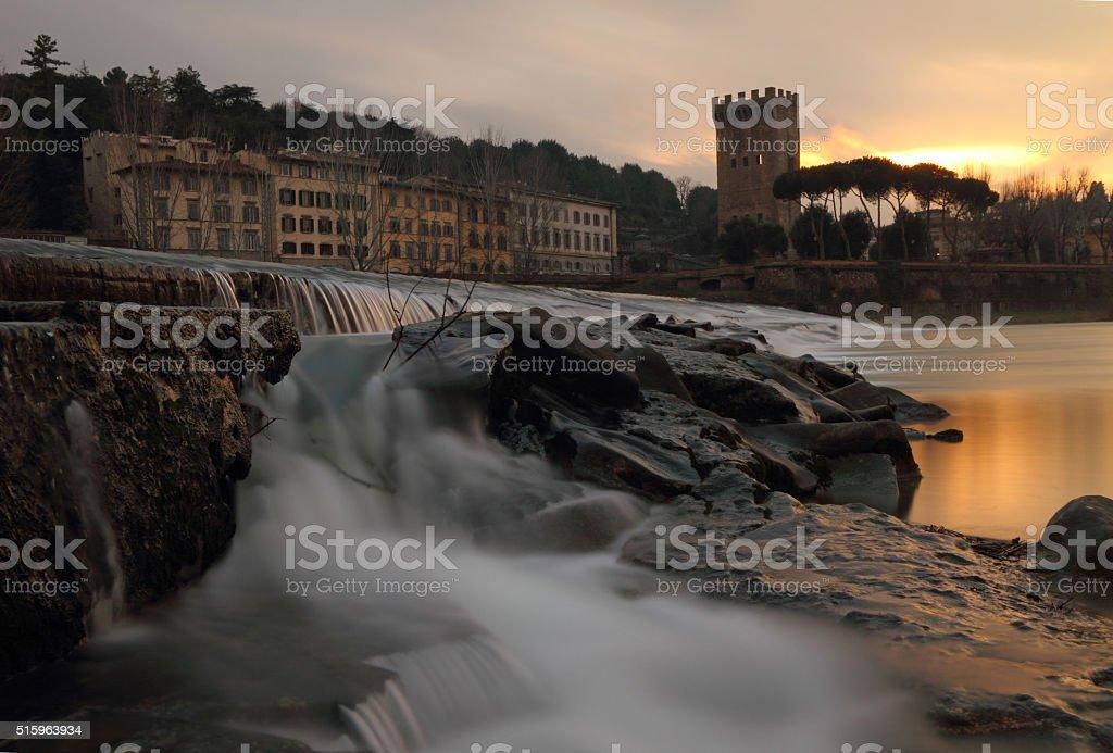Wonderful sunset at waterfallas stock photo