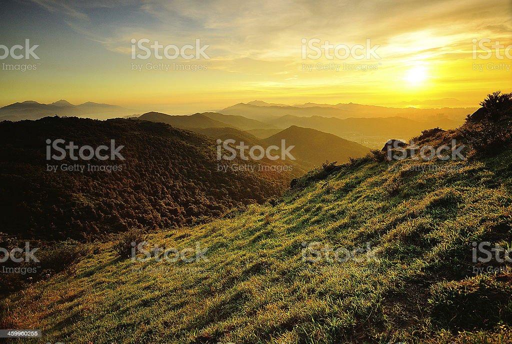Wonderful sunset over the mountains stock photo