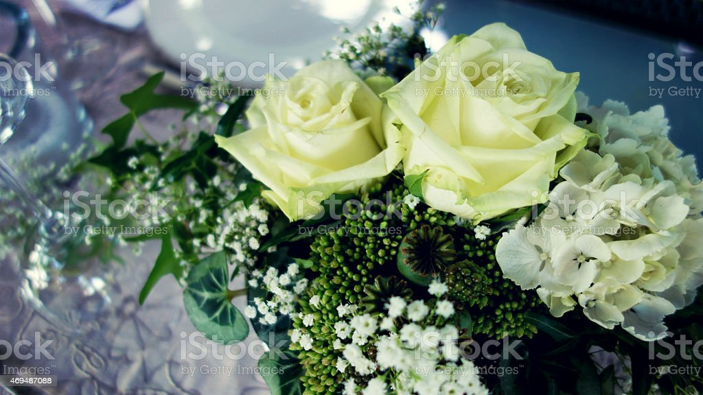 Wonderful table decoration for a wedding stock photo