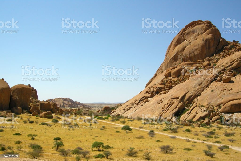 Wonderful view from the amazing Spitzkoppe in Namibia stock photo