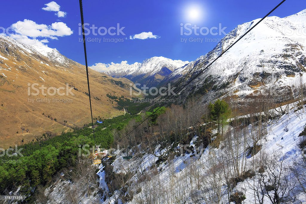 Wonderful view of  cableway in the mountains. stock photo