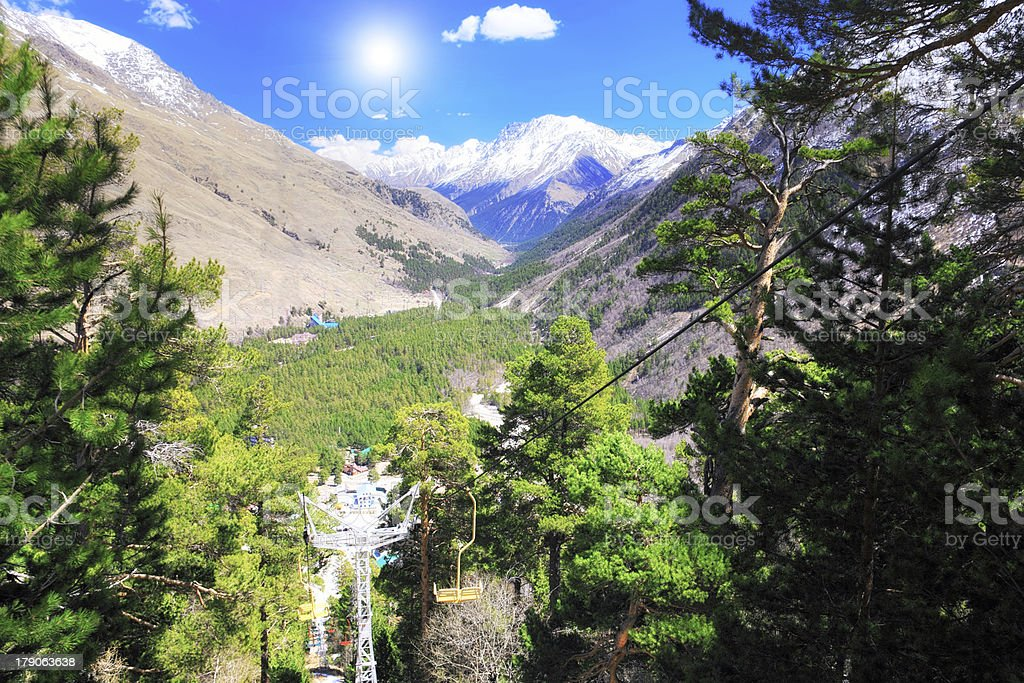 Wonderful view of  cableway in the mountains. royalty-free stock photo