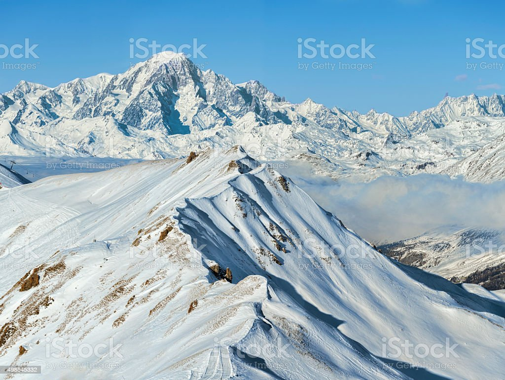 Wonderful winter alpine mountain range landscape stock photo