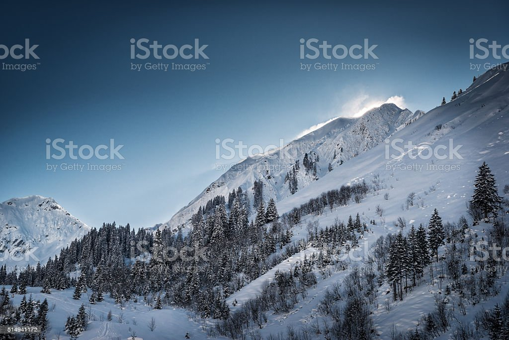 wonderful winter mountain landscape with snow and blue sky stock photo