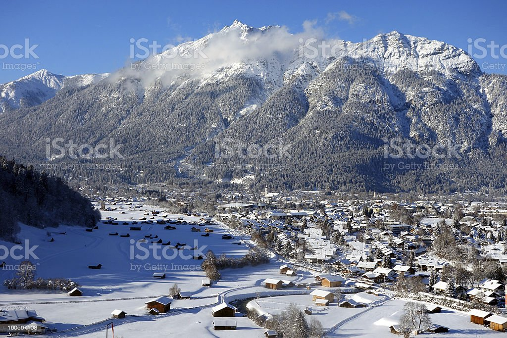 Wonderful wintry Garmisch-Partenkirchen, Germany royalty-free stock photo