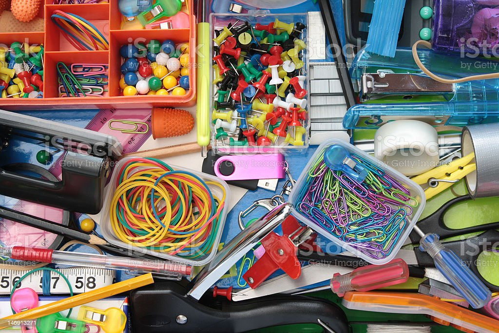 Wonderful World of the Stationery Drawer stock photo