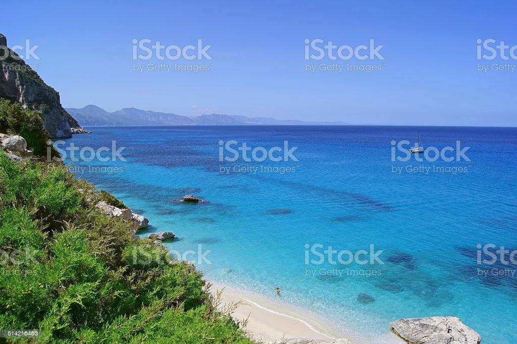 Wonderfull blue lagoone cliffs and stone / Cala Goloritze, Sardinia stock photo