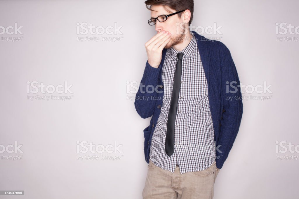Wondering Adult on Gray royalty-free stock photo