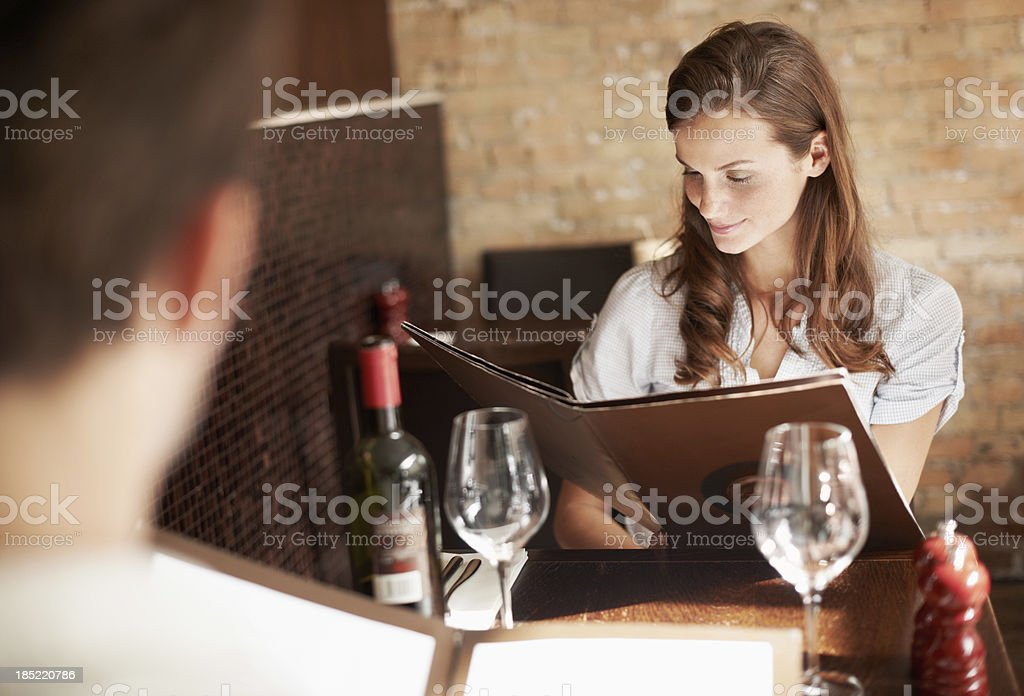 Wondering which dinner to choose? stock photo