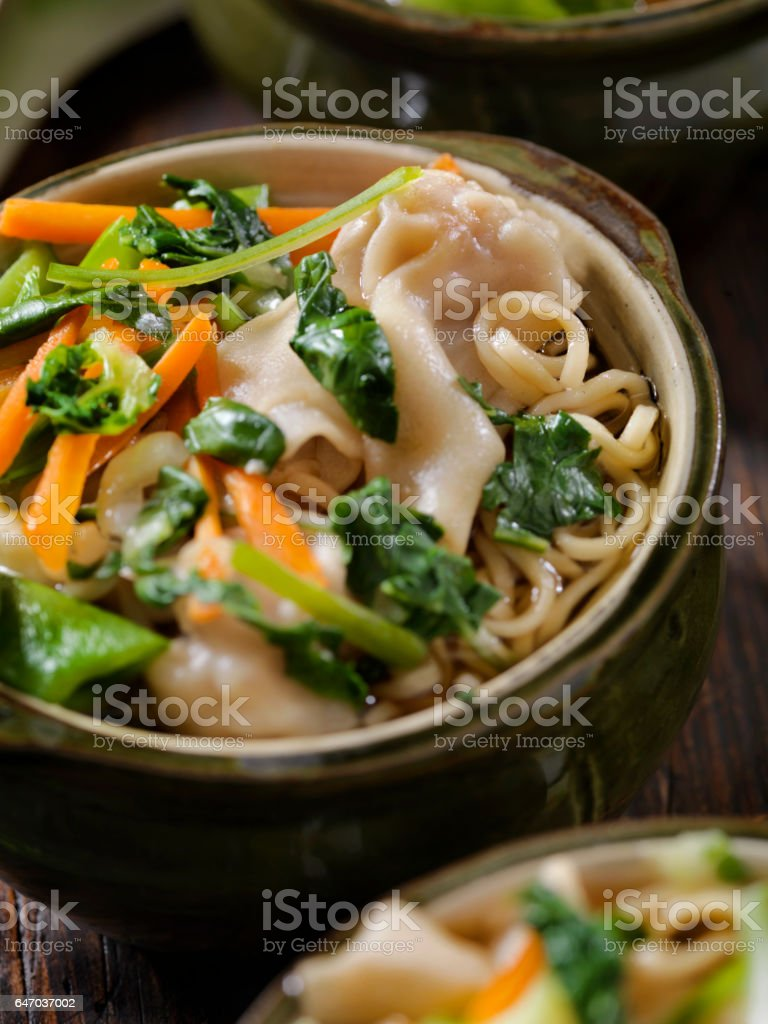 Wonton, Dumpling Soup with Noodles stock photo