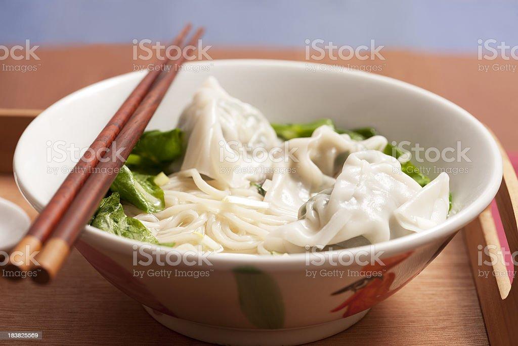 Wonton Noodle Soup stock photo