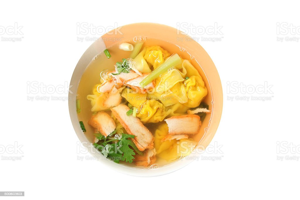 Wonton noodles soup in bowl of isolated. stock photo