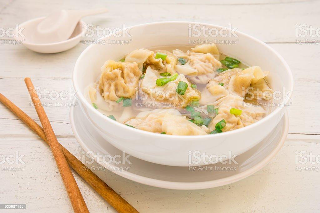 Wonton soup, Chinese food stock photo
