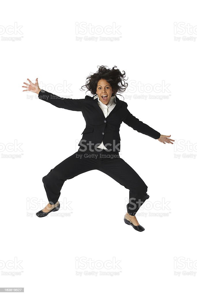 Woo hoo businesswoman jumping mid air royalty-free stock photo