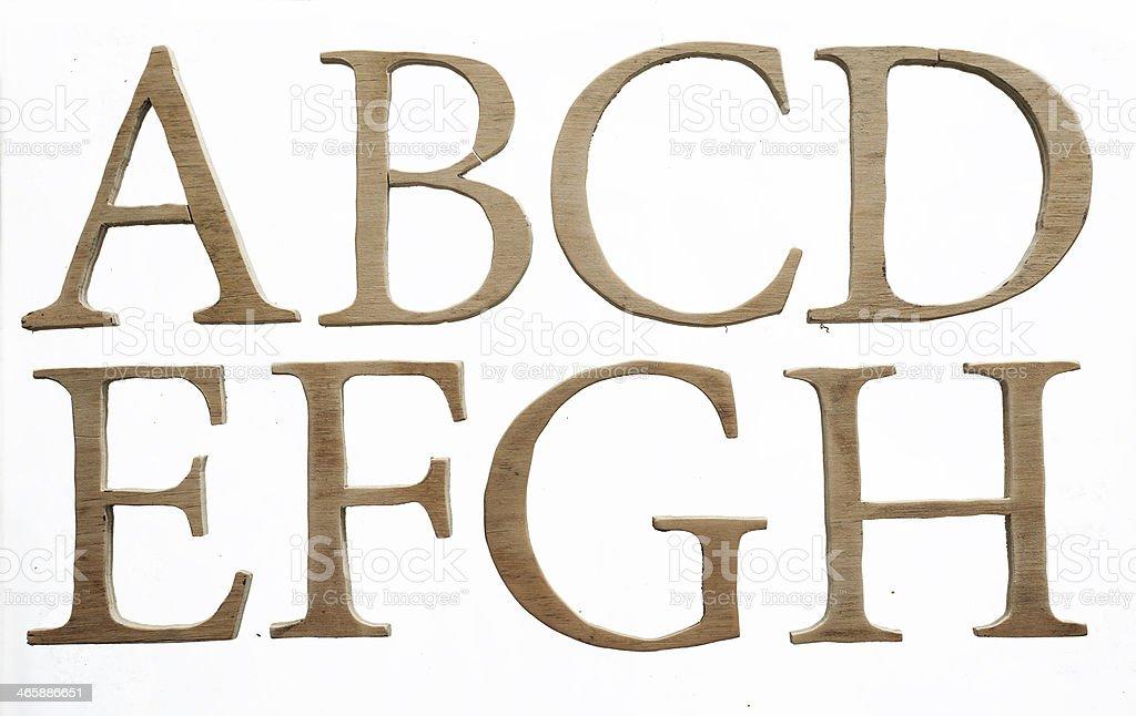 Wood alphabet stock photo