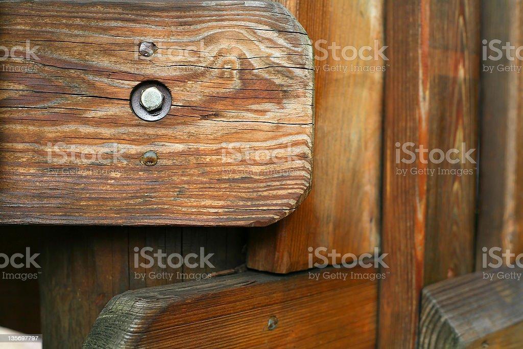 Parafuso de madeira e detalhes de Equipamento de Playground foto royalty-free