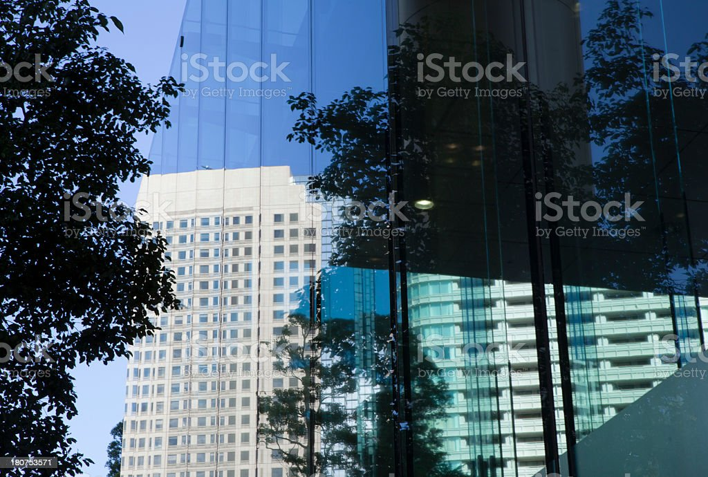 Wood and building reflected in the window royalty-free stock photo
