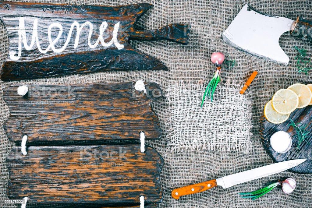 Wood and burlap recipe frame stock photo