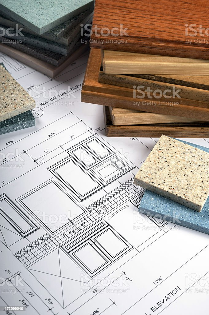 Wood and Countertop Samples on Kitchen Blueprint royalty-free stock photo