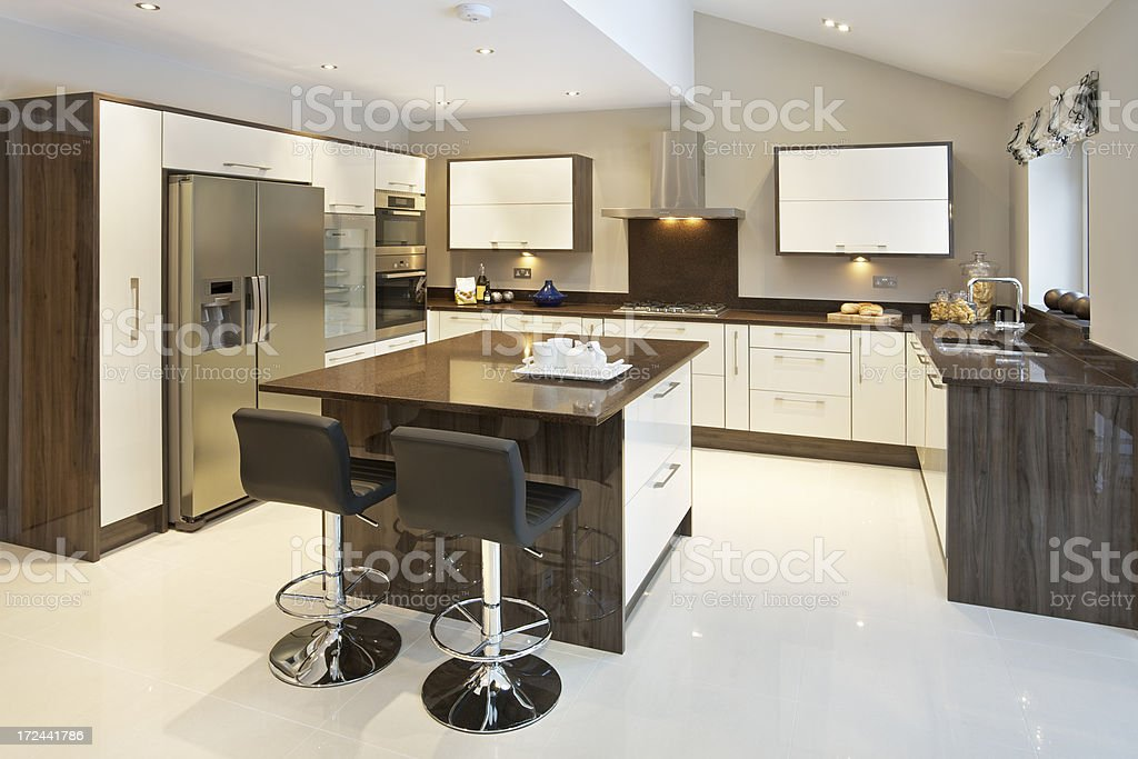 wood and cream coloured kitchen stock photo
