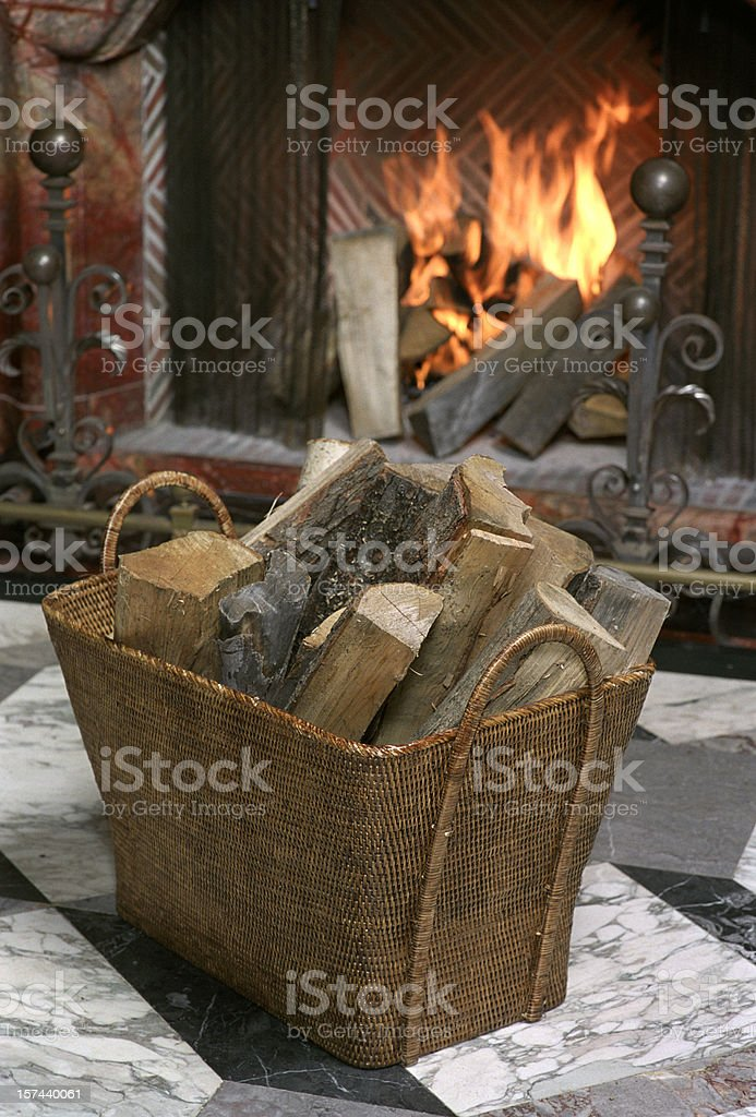 Wood and Fireplace royalty-free stock photo